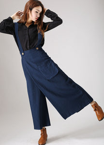 Blue linen trousers woman long pants (841)