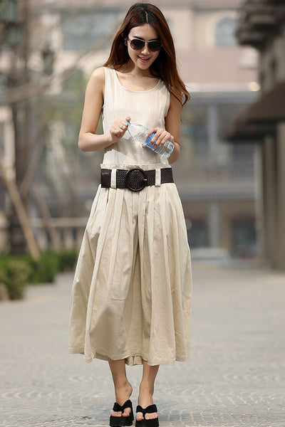 Cream dress woman Linen dress casual maxi dress custom made summer n dress (931)