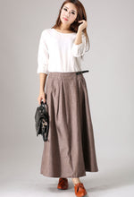 Load image into Gallery viewer, Casual linen skirt woman Spring maxi skirt Custom made long skirt (854)