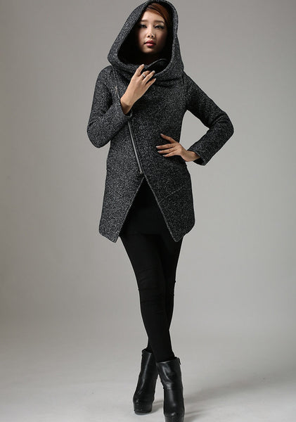 Short Winter Biker Jacket with Large Cowl Neck and Asymmetrical Zipper (735)