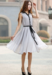 Gray dress woman chiffon dress custom made midi dress with black detail 0917#