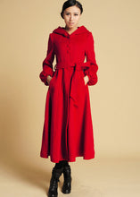 Load image into Gallery viewer, Red Wool Swing Coat with big hood 0394#