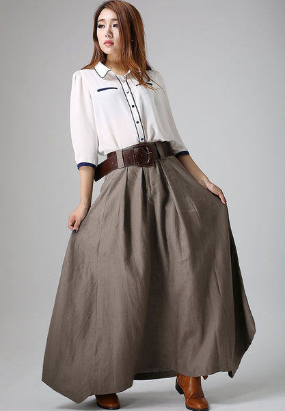 long linen skirt - Gray skirt women maxi skirt - custom made(905)
