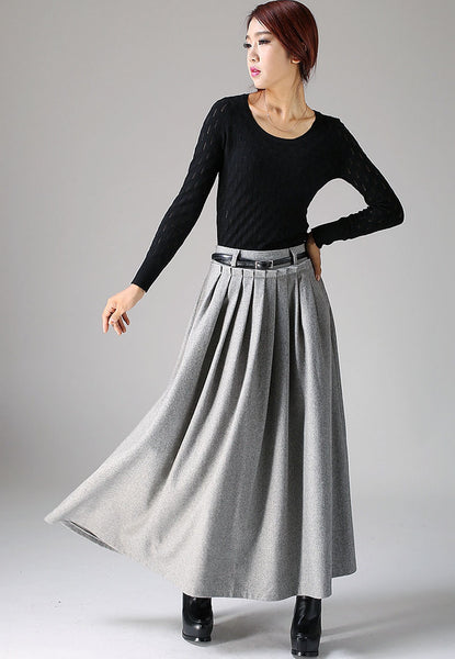 Light gray wool skirt maxi skirt (1095)