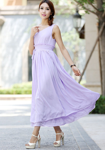Woman bridesmaid dress maxi dress tulle dress in purple (1031)
