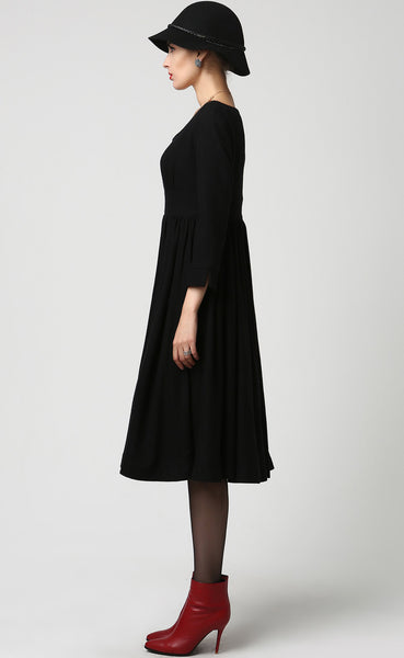 Long Black Wool Midi Dress (1126)