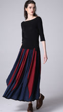 Load image into Gallery viewer, New lisiting linen maxi skirt woman's long pleated dress (1198)