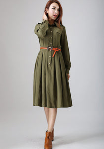 Army Green dress woman linen dress custom made midi dress 0797#
