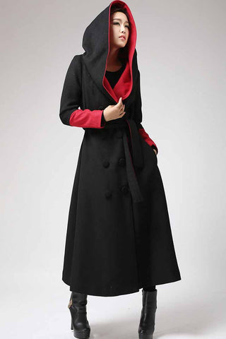 Long Maxi Warm wool coat for Winter, Double Breasted coat with Large Hood 0700#
