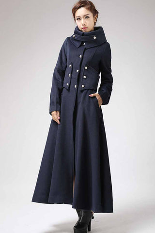 Blue Military wool Coat for women 0701#