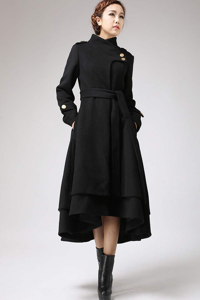 Asymmetrical Hem Black wool Coat , womens winter outerwear  0703#
