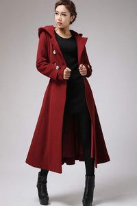 Womens's hooded Military coat in Red 0705#