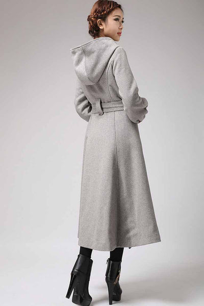 Maxi wool coat Long sleeve womens long swing coat with hood and self tie belt wasit 0708#
