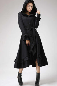 Black Ruffles Coat - Long Wool Maxi Hooded Coat with Circular Hemline - Made to Measure 0713#