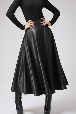 Black PU skirt maxi skirt long winter skirt 0719#