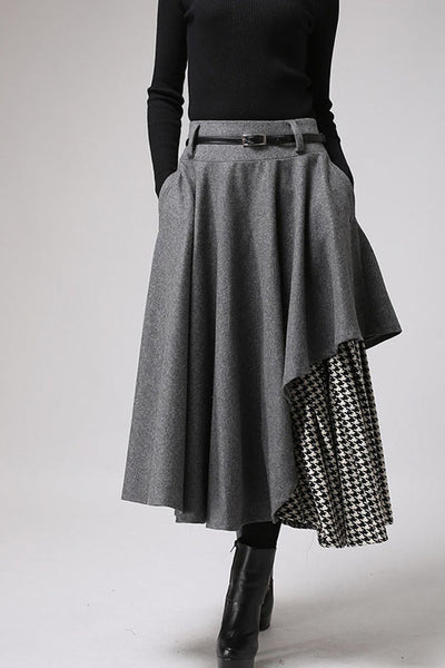 layered wool maxi skirt, Designer swing skirt for winter 0720#