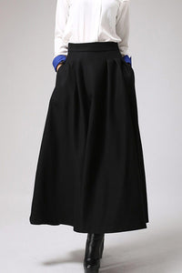 Black wool maxi skirt for winter,  warm skirt with pleated wasitd 0722#