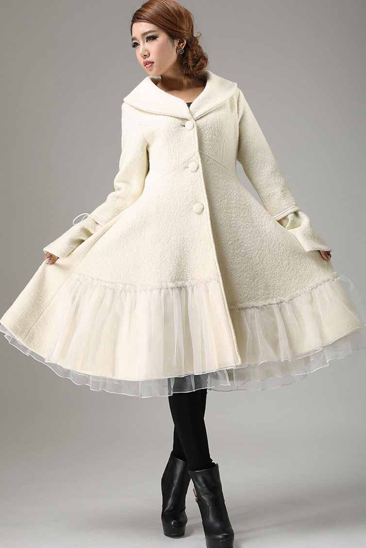 Begin white wool winter warm jacket long sleeve outwear 0725#