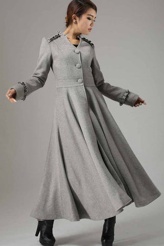 Long Grey Swing wool Coat with Ruffle Details 0731#