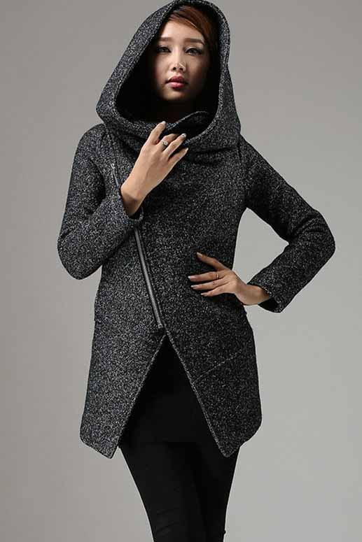 Short Winter Biker Jacket with Large Cowl Neck and Asymmetrical Zipper 0735#
