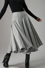 Load image into Gallery viewer, Light gray wool swing skirt,  elegent women's pleated skrit for winter 0748#