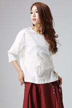 Load image into Gallery viewer, white linen blouse