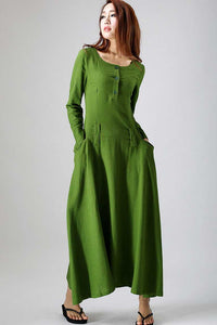 Long sleeve casual maxi linen dress 0784#