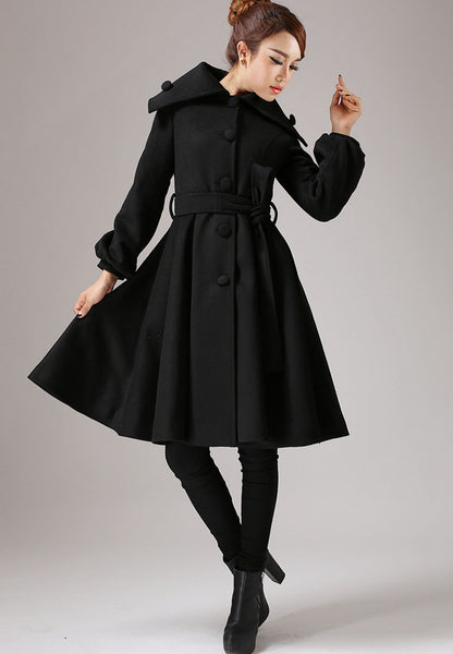Black wool jacket shawl collar coat winter jacket warm coat (753)