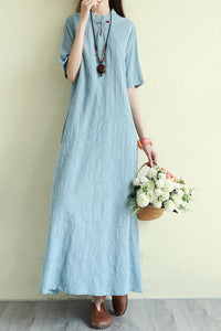 summer loose linen long dress with half sleeve and mockneck CYM333