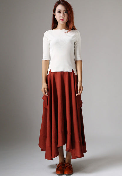 Asymmetrical Linen Skirt - Long Maxi Rust Red with Ruffle Hem & Two Large Side Pockets (1044)
