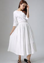 Load image into Gallery viewer, womne's long White maxi dress 0803#