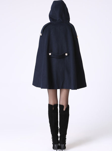 Hooded Short Swing Coat - Navy Blue Military Style Double-Breasted Vintage Inspired Wool Cape Style Jacket (1057)
