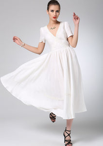 White linen dress prom dress maxi bridesmaid dress (1215)