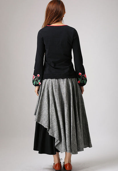 Gray linen skirt woman maxi skirt custom made layered long skirt (868)