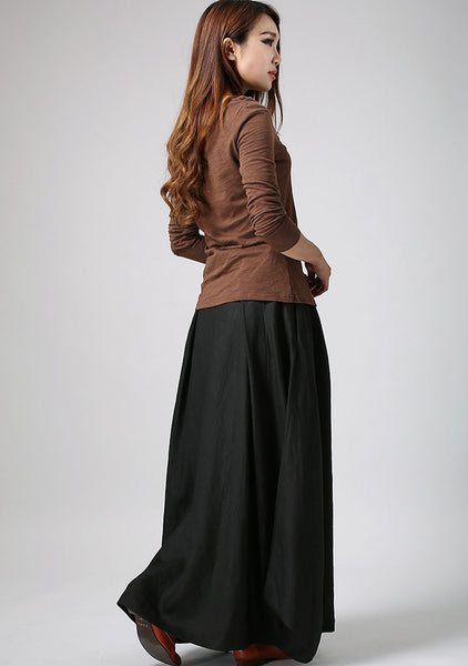 woman maxi skirt Black skirt long linen skirt custom made (902)