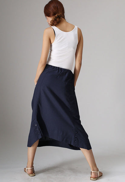 Dark blue skirt woman casual skirt linen skirt long skirt (983)