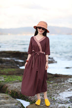 Load image into Gallery viewer, Summer new travel art five-minute sleeve han wind linen vintage dress CYM372