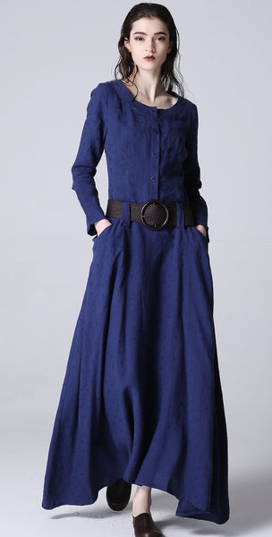 Blue dress maxi linen dress casual dress women dress 1183#