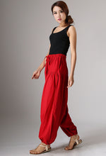 Load image into Gallery viewer, Red maxi linen pants 982