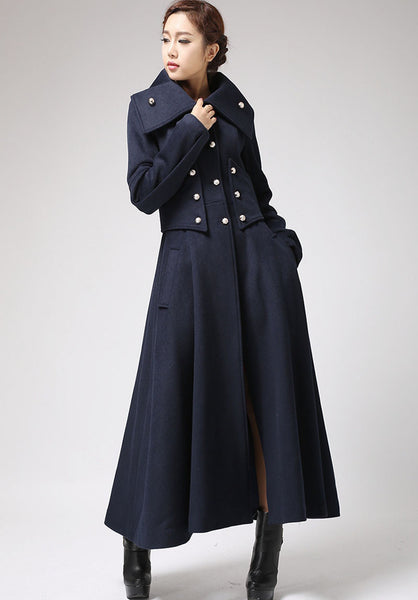 Military Style Coat, Blue wool coat, Long Coat (701)