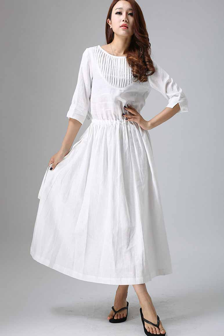womne's long White maxi dress 0803#