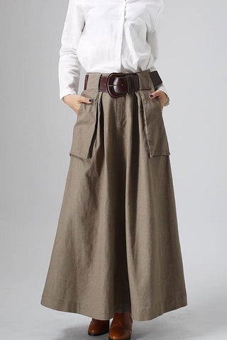 Maxi Linen Long Skirt with Big Pocket Detail - Classic Women Fashion 0820#
