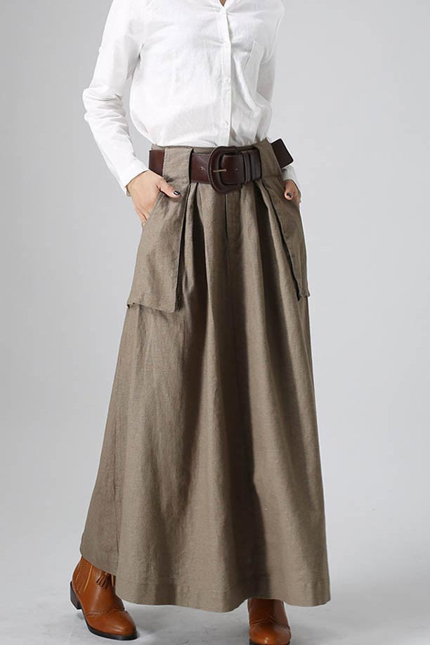 Women's long maxi skirt with big pockets  0820#