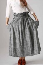Load image into Gallery viewer, women's casual swing skirt, grey maxi skirt 0867#
