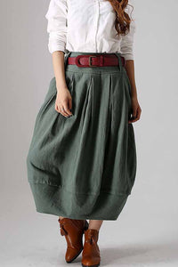 Casual linen bubble skirt in Green  0870#
