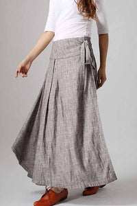 Women's long wrap skirt in gray 0872#