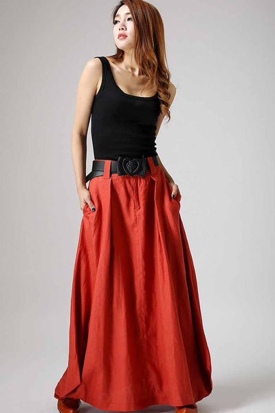 long linen skirt - Gray skirt women maxi skirt 0905#