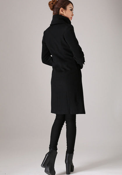 Black coat long sleeve Warm jacket winter jacket wool coat (751)