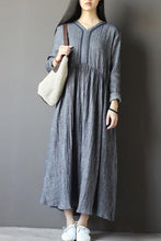 Load image into Gallery viewer, Set head v neck loose commuter dress with long sleeve  CYM330