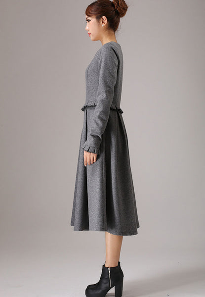 Gray wool dress winter dress maxi dress 0764#